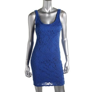 Material Girl Womens Juniors Party Dress Lace Contrast Trim - M