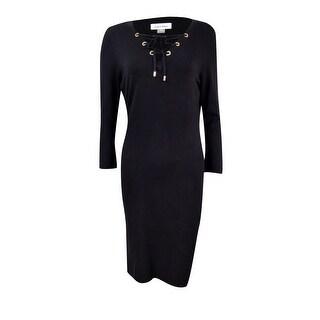 Calvin Klein Women's Petite Lace-Up Zip-Trim Sweater Dress - Black