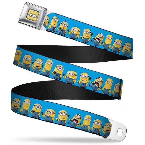 Minion Dave Face Close Up Full Color Despicable Me Minions Standing Lineup Seatbelt Belt