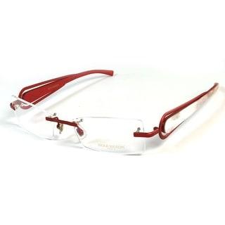Boucheron Unisex Rectangular Rounded Rimless Eyeglasses Red - S