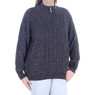 KAREN SCOTT $21 Womens New 1314 Black White Long Sleeve Sweater 0X Plus B+B