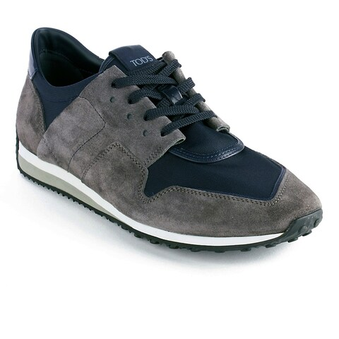 Tod's Men's Suede Fabric Low Top Sneaker Shoes Grey