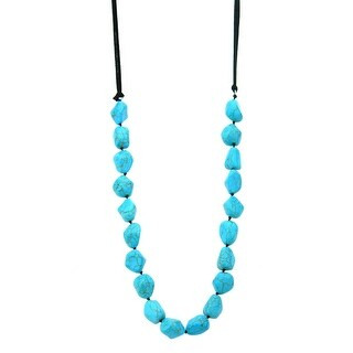 Nks170412-03 Blk Hand Knotted Tq Nuggets, Suede Cord Necklace