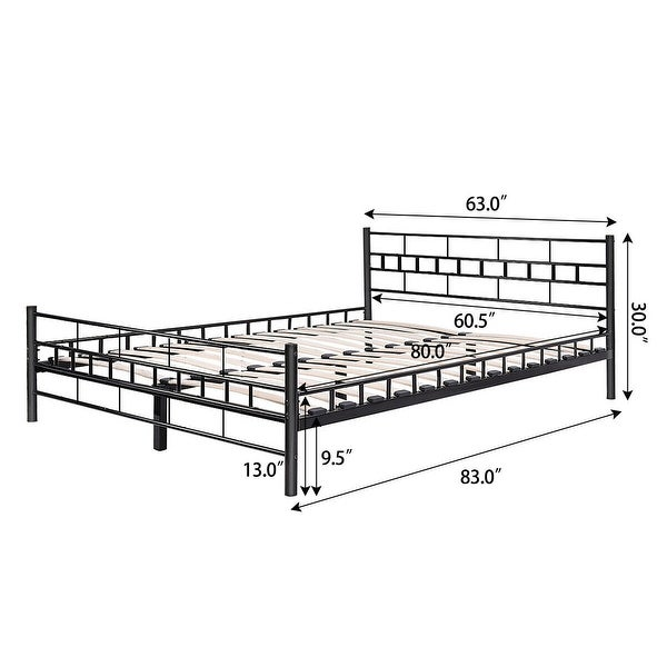 Queen Size Wood Slats Bed Frame Platform Headboard Footboard Furniture Black NEW