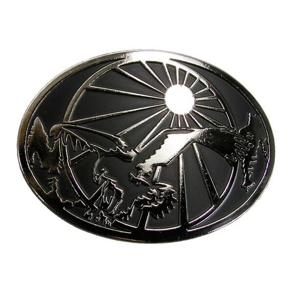 Chrome Men's Eagle and Sun Belt Buckle
