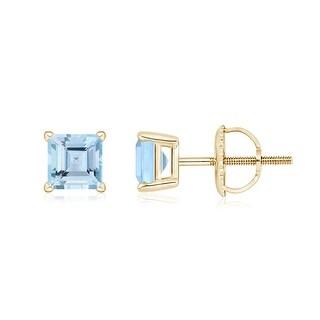 Angara Basket Setting Square Aquamarine Stud Earrings