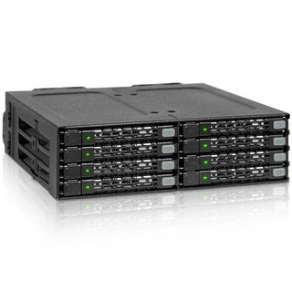 """Icy Dock Full Metal 8 Bay 2.5"""" Sata Hdd & Ssd Hotswap Backplane Cage For 5.25 Drive Bay - Tougharmor Mb998sp-B"""