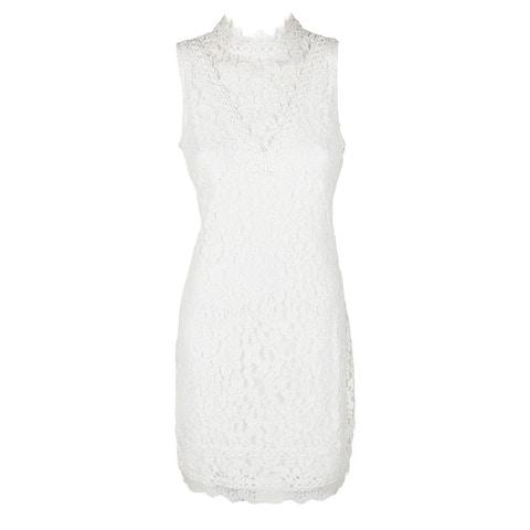 Kensie White Sleeveless Mock-Neck Illusion Lace Sheath Dress 8