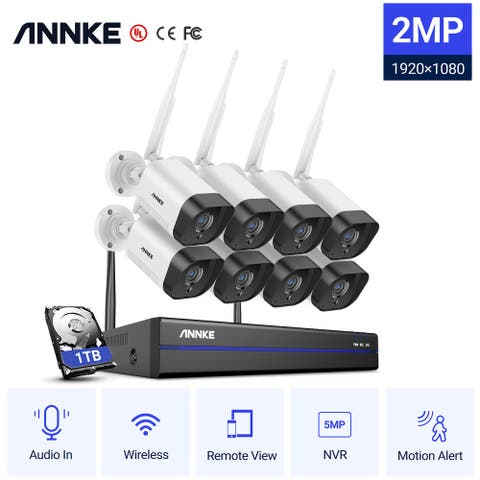 ANNKE 1080p Plug & Play Wireless Security Camera System - With 1 Hard Drive
