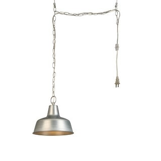 """Design House 579409 Mason 1-Light 10-3/8"""" Wide Instant Pendant with Plug in Cord - Galvanized - N/A"""