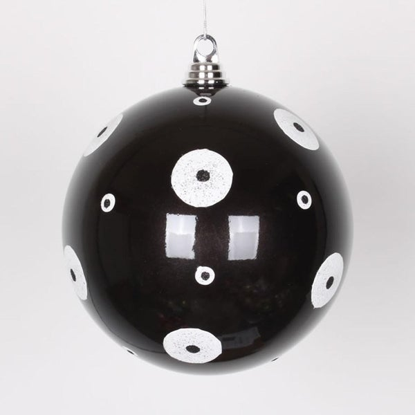 "Candy Black with White Glitter Polka Dots Christmas Ball Ornament 8"" (200mm)"