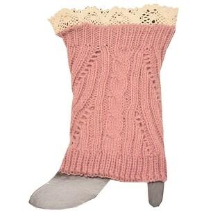 Fashion Knitting Women Light Pink Ivory Crochet Trim Detail Knit Leg Warmers