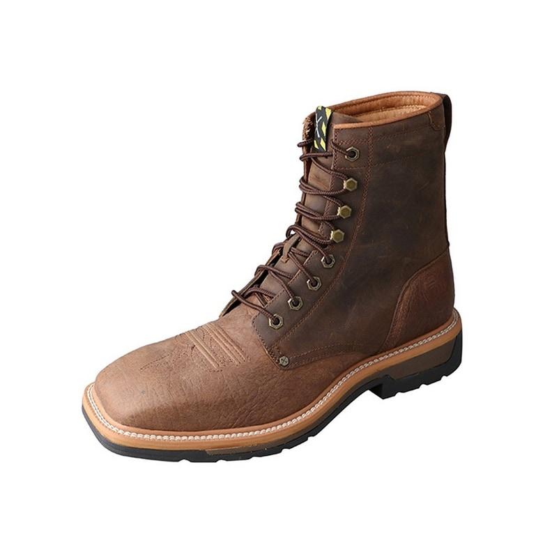 7d36e2b78b2 Twisted X Work Boots Mens Lite Steel Toe Lacer Distress Saddle