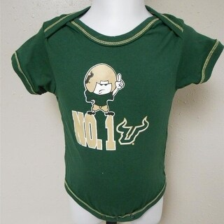 USF South Florida Bulls 1 Infants Sizes 3 6M 12M Green Creeper