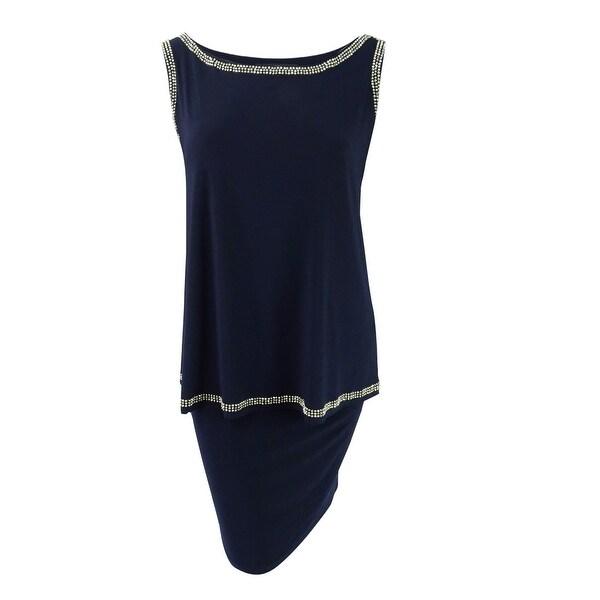 Betsy & Adam Women's Plus Size Beaded Popover Shift Dress - Navy - 22W
