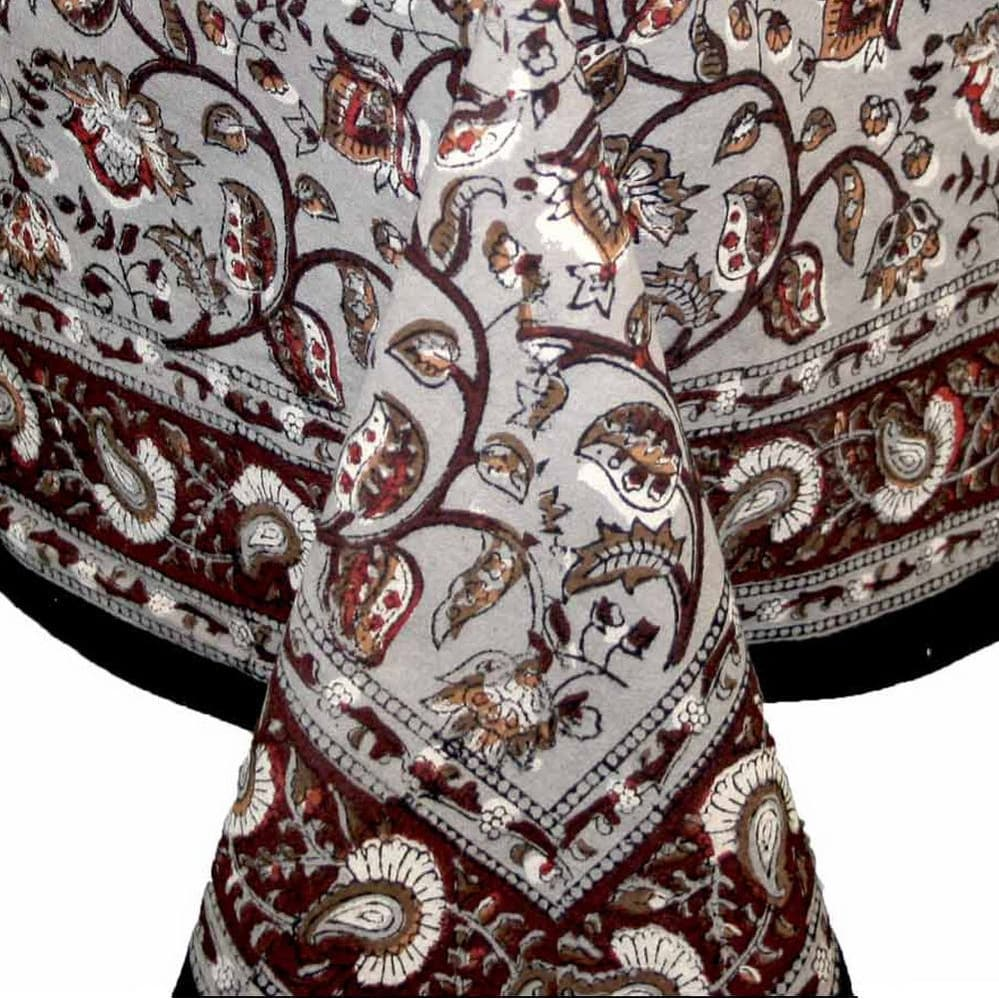 Handmade Dabu Floral Hand Block Print Tablecloth 100% Cotton Rectangular Square Round & Napkins - Thumbnail 0