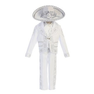 """Angels Garment Baby Boys White """"Our Lady Guadalupe"""" Charro Baptism Set 6-24M"""