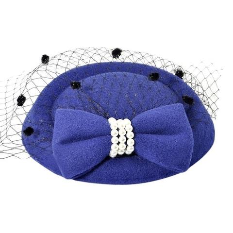 Vintage Solid Color Mesh Faux Pearl Women Fascinator Hair Clip Party Derby Hat