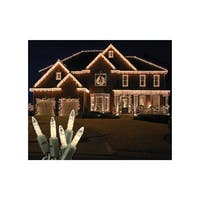 Christmas at Winterland S-ICM5WW-IG Standard Icicle Lights M5 LED Warm White Faceted 70-Lights Green Wire 22 Gauge