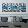 Statements2000 Aqua Blue / Silver Modern Abstract Metal Wall Art Painting by Jon Allen - Caliente Aqua - Thumbnail 1