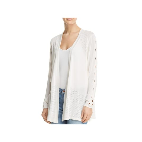 Avec Womens Cardigan Top Lace-Up Open Front