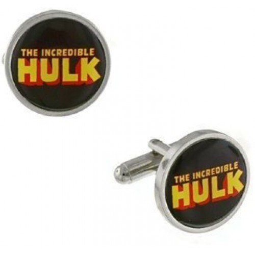 Hulk Silver-Tone and Black Round Marvel Superhero Cufflinks