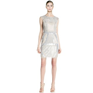 Aidan Mattox Beaded & Sequined Mesh Sheath Cap Sleeve Cocktail Evening Dress - 10