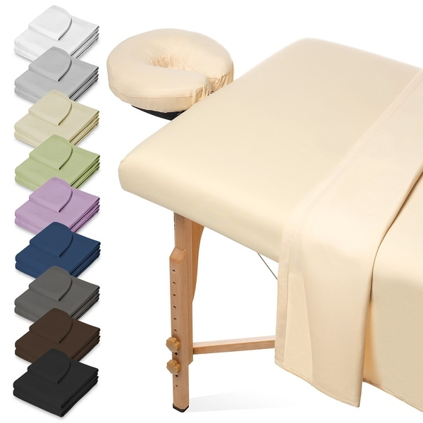 Premium 3-Piece Microfiber Massage Table Sheet Set by Saloniture. Opens flyout.