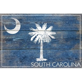 Rustic South Carolina State Flag - Lantern Press Artwork (Cotton/Polyester Chef's Apron)