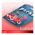 14 GA 5/8-Inch Barbell with with 8 Assorted Red 6mm Balls - Thumbnail 0