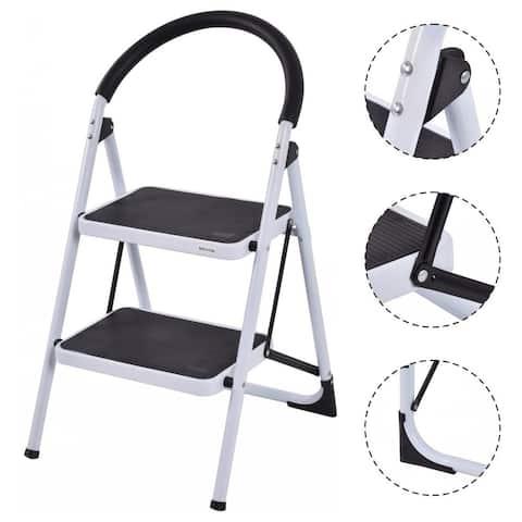 Costway 2 Step Ladder Folding Stool Heavy Duty 330Lbs Capacity
