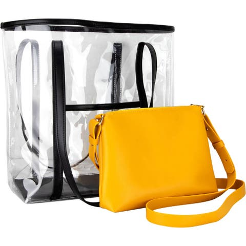 Ver Beauty VB003 2-in-1 Transparent Waterproof Tote Handbag with Removable Purse and Adjustable Shoulder Strap
