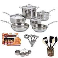 Cuisinart 7710 Chefs Classic Stainless 10-piece Cookware Set with Kitchen Tools