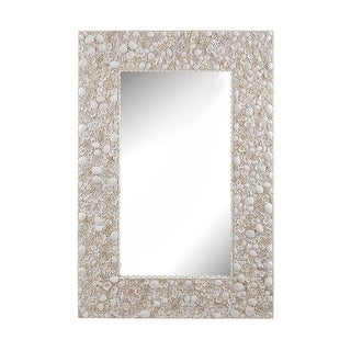"""48"""" Brown and White Shell Wall Mirror"""