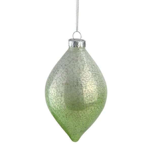 "5.5"" Green and White Spotted Glass Finial Decorative Christmas Ornament"