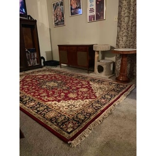 """Hand-knotted Finial Burgundy Burgundy Wool Area Rug - 5'6"""" x 8'6"""""""