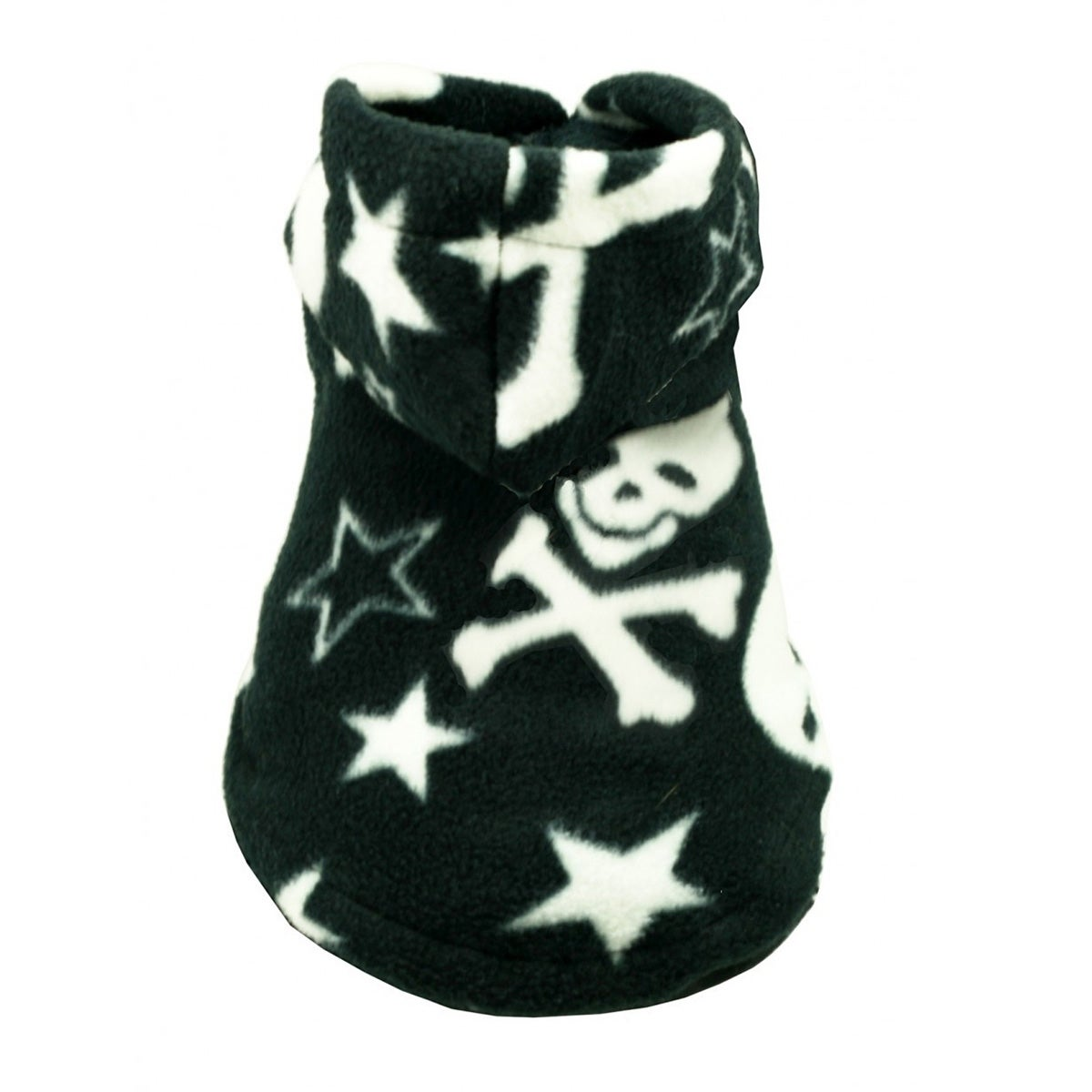 Black Skull Polar Fleece Dog Hoodie by Hip Doggie (Black - X-Small)