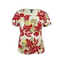 Karen Scott Women's Floral Print Short Sleeve Top - new red amore