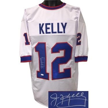 Jim Kelly signed White TB Custom Stitched Pro Style Football Jersey XL signed on 1 JSA Hologram