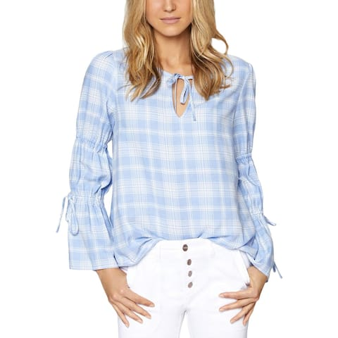 Sanctuary Womens Flora Peasant Top Plaid Bell Sleeves