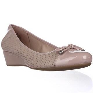 Easy Spirit Dawnette Perforated Wedge Ballet Pumps - Light Pink