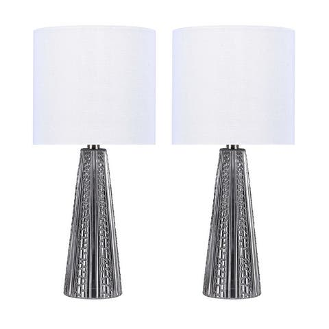 16-in. Glass Lamp w/ Brushed Nickel Accents and Drum Shade