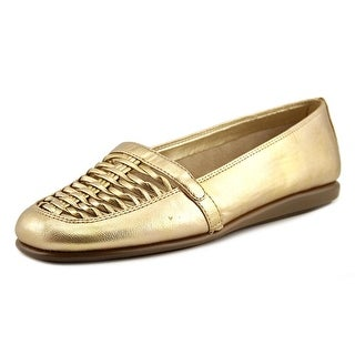 A2 By Aerosoles Solid Ground Women  Round Toe Synthetic Gold Loafer