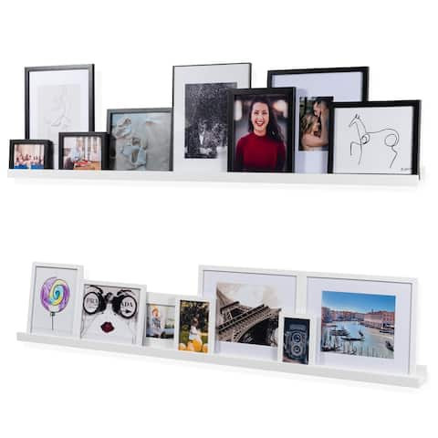 Wallniture Denver 60 Inch Floating Shelves, White Picture Ledge (Set of 2)