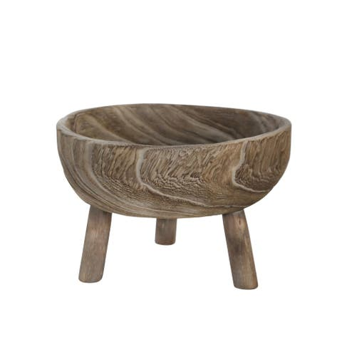 """Wood 11"""" Bowl With Legs, Gray"""