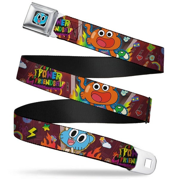 Gumball Face Close Up Black Full Color Gumball & Darwin By The Power Of Seatbelt Belt