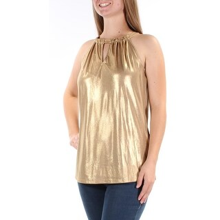 Womens Gold Sleeveless Keyhole Casual Top Size M