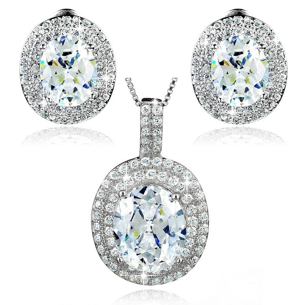 """Sterling Silver Oval Cubic Zirconia Double Halo Earrings and Necklace Set 18"""""""