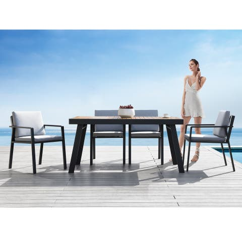 Higold 6801 Nofi 7 Pieces Outdoor Dining Set for 6 seaters with Grey Cushions, Aluminum Frame, Imitated Teak Tabletop