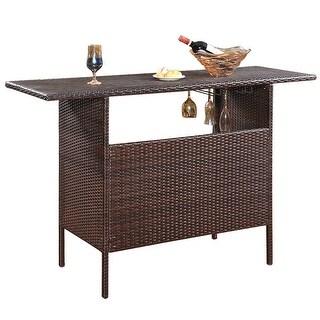 Costway Outdoor Rattan Wicker Bar Counter Table Shelves Garden Patio Furniture Brown